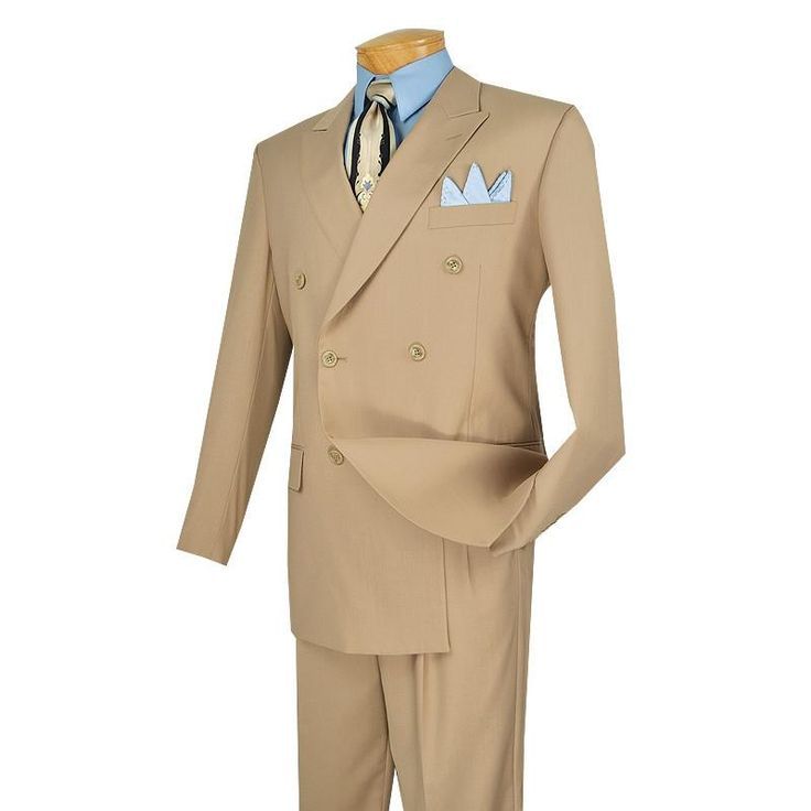 MEN'S DRESS BUSINESS SUITS DOUBLE BREASTED SUITS MEN'S CLASSIC SUITS SOLID BEIGE COLOR