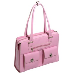 Verona Pink Leather Checkpoint-Friendly Laptop Bag at Rainebrooke.com