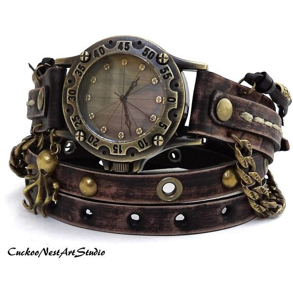 Steampunk Wrap Watch, Antique Brown Wrap around Watch, Womens leather watch, Vintage looking Bracelet Watch, Rustic Wrist Watch