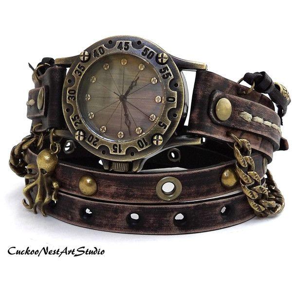 Steampunk Wrap Watch, Antique Brown Wrap around Watch, Womens leather watch, Vintage looking Bracelet Watch, Rustic Wrist Watch