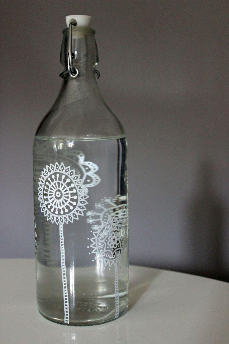 bouteille verre customisée au posca2
