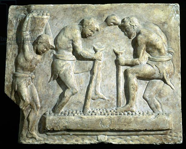 Relief depicting pavers (stone), Roman, (1st century AD) / Museo della Civilta Romana, Rome, Italy / The Bridgeman Art Library