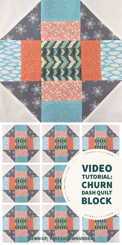 Video tutorial: Churn dash quilt block                                                                                                                                                                                 More