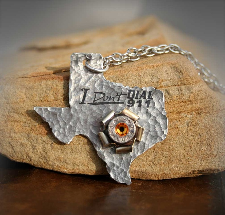 Texas Concealed Carry Pendant Necklace, I Don't Dial 911, Luger 9mm Bullet Rosette. $48.50, via Etsy.