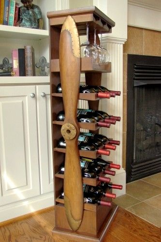 Tall Wood Airplane Propeller Wine Rack | A Simpler Time