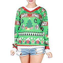 Cfanny Couple 3D Santa Print Ugly Christmas Sweatshirt Tops Cat Kitty