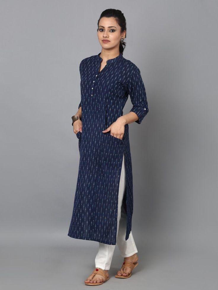 Blue Cotton Ikat Front Pocket Kurta