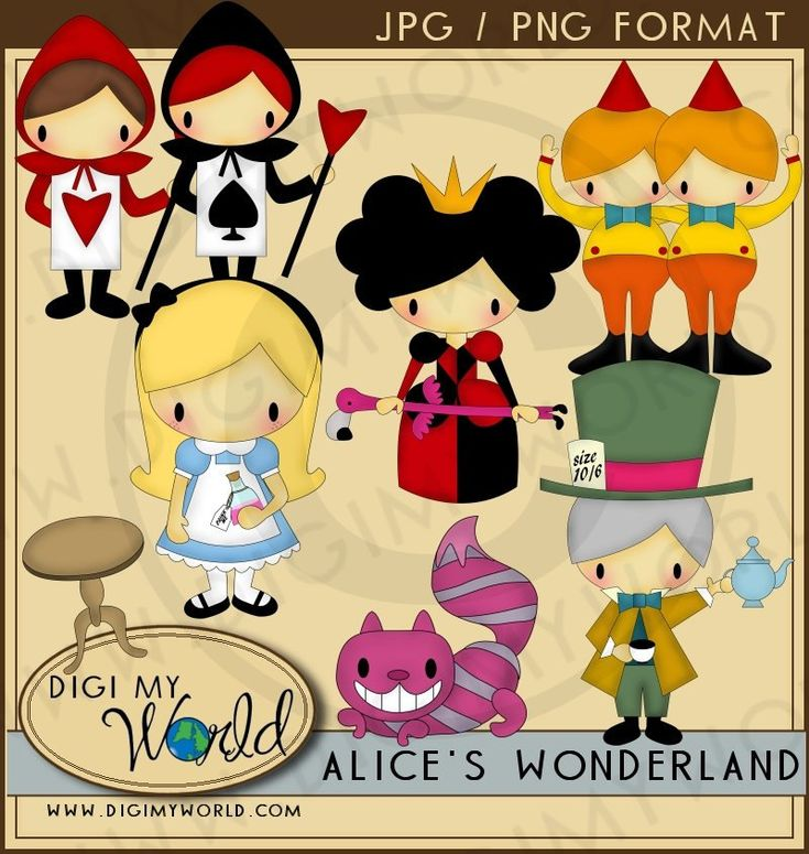 Alice in Wonderland - Alice, Chesire cat, Mad Hatter Clipart and graphics. $3.99, via Etsy.