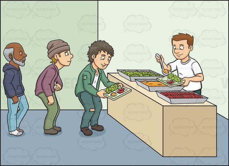 A male volunteer in a feeding program #cartoon #clipart #vector #vectortoons #stockimage #stockart #art