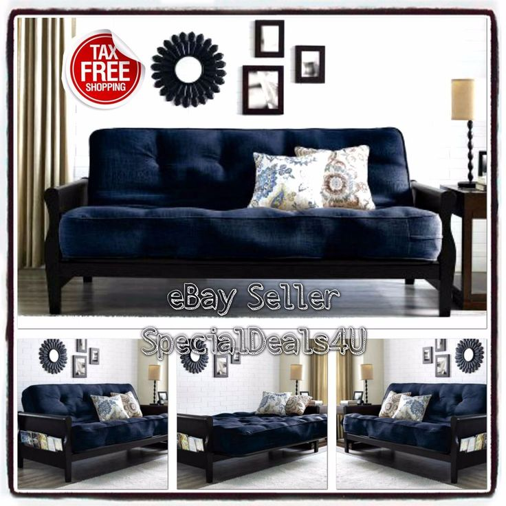 Convertible Futon Sofa Bed Couch Full Size Mattress Living Room Furniture Blue #SD4UFurniture #ModernTraditionalContemporary
