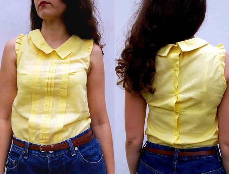Przed i po... żółta bluzka i szorty DIY