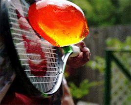 "sixpenceee: ""Jello through a tennis racket! """