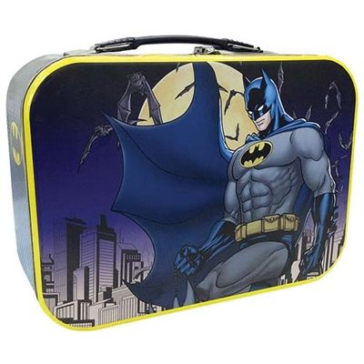 """Pack a meal fit for a hero with this large Batman lunch box with an image of the Caped crusader overlooking Gotham in the moonlight! Lunch box measures 10"""" long, 7"""" tall and 4"""" deep. #ShopTheRocket #VisitYpsi #Ferndale #Batman"""