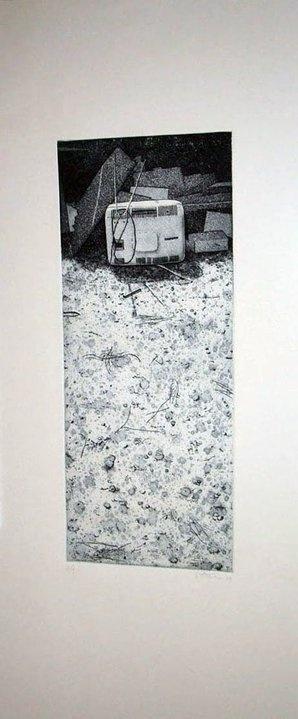 VINCENZO TODARO:  Fine delle trasmissioni , 2008  acquaforte, acquatinta, lavis e morsura aperta su zinco  foglio cm 70 x 33, lastra mm 400 x 160  tiratura 6 esemplari numerati e firmati su carta Fabriano Rosaspina avorio 285 gr/mq  #