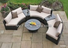 hotel garden wicker half-moon shape sectional sofa with side table/semi-circle…