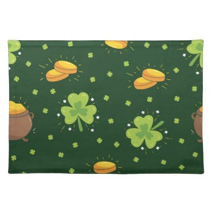 Three Leaf Clovers and Gold For St Patrick's Placemat - st patricks day gifts Saint Patrick's Day Saint Patrick Ireland irish holiday party