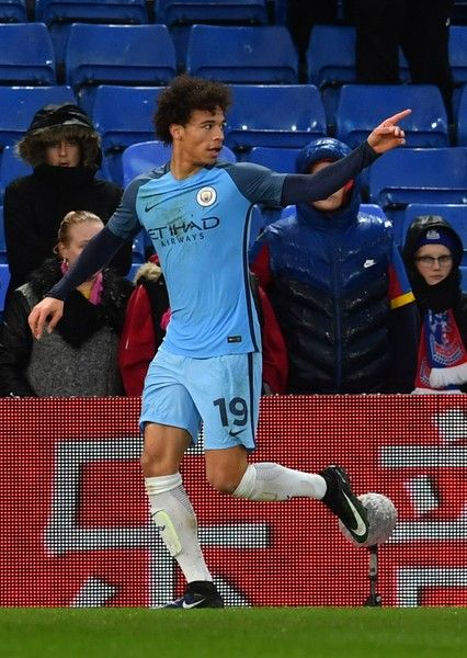 Manchester City's German midfielder Leroy Sane celebrates scoring their second goal during the English FA Cup fourth round football match between Crystal Palace and Manchester City at Selhurst Park in south London on January 28, 2017. / AFP / Ben STANSALL / RESTRICTED TO EDITORIAL USE. No use with unauthorized audio, video, data, fixture lists, club/league logos or 'live' services. Online in-match use limited to 75 images, no video emulation. No use in betting, games or single…
