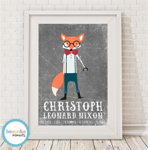 Mr Fox Birth Print by Bespoke Moments. Worldwide Shipping Available.