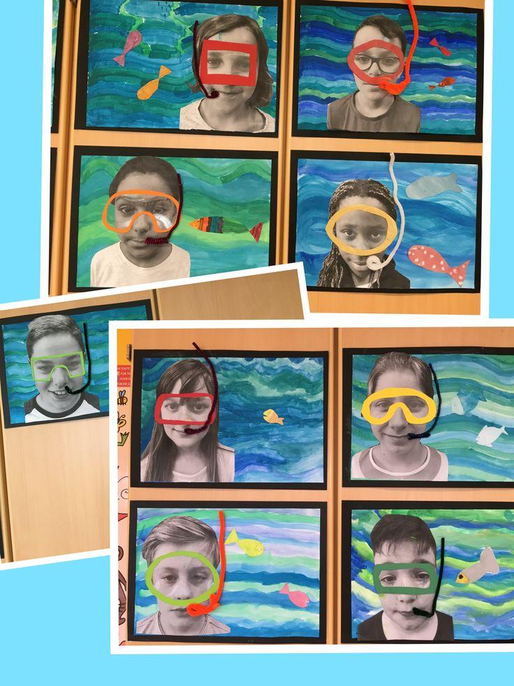 Tauchen mit Taucherbrille. Wasser aus Wasserfarben.