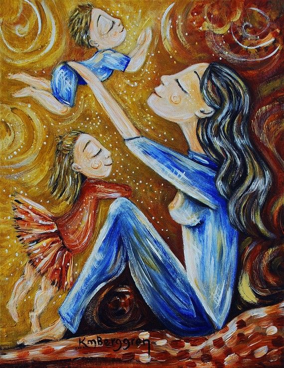 mother and child yellow red blue son daughter ballerina - Golden Moment - Archival signed 8x10 motherhood print