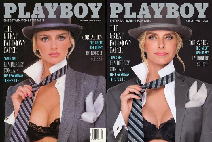 http://www.revelist.com/arts/playmates-recreate-iconic-playboy-covers/8056/Kimberley Conrad Hefner graced the cover in August 1988. Still classy in that bowler hat and tie!/1/#/1
