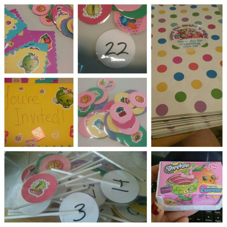 Shopkins birthday dyi. Cupcake toppers taped to cake pop? Sticks with #'s on back. I bought one blind shopkin a split the two in plastic glitter easter eggs. I put #'s in hat, whichever 2 #'s i picked each got a glitter egg to put in their goody bag. The goody bags super cute easter bags from walmart .25/each!