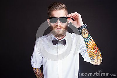 Young Fashionable Hipster Man In White Shirt - Download From Over 50 Million High Quality Stock Photos, Images, Vectors. Sign up for FREE today. Image: 45371690
