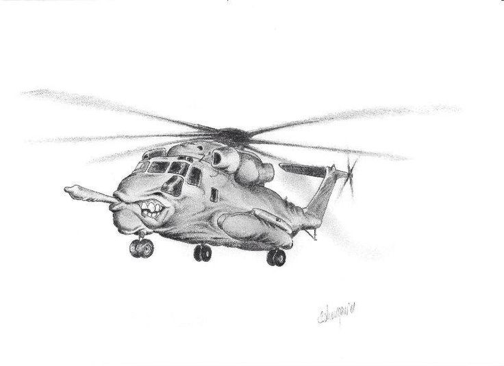 Pencil drawing fantacy Sikorsky chopper