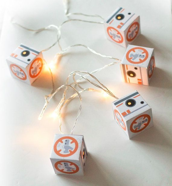 BB8 Star Wars string of lights, fairy lights, LED lanterns make great night lights  There are 5 lanterns on a string of 10 LED lights, placed
