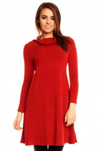 Czerwona sukienka z golfem KM132