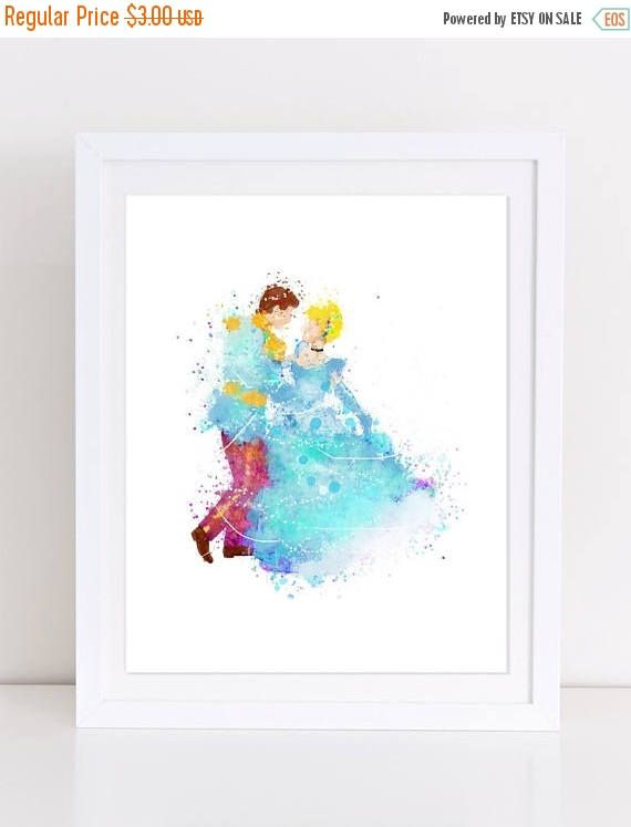 60%OFF Cinderella Poster Watercolor Poster Prince Charming