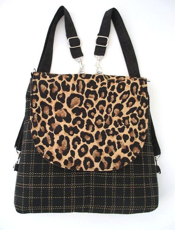 women's black backpack converts to messenger Leopard by daphnenen