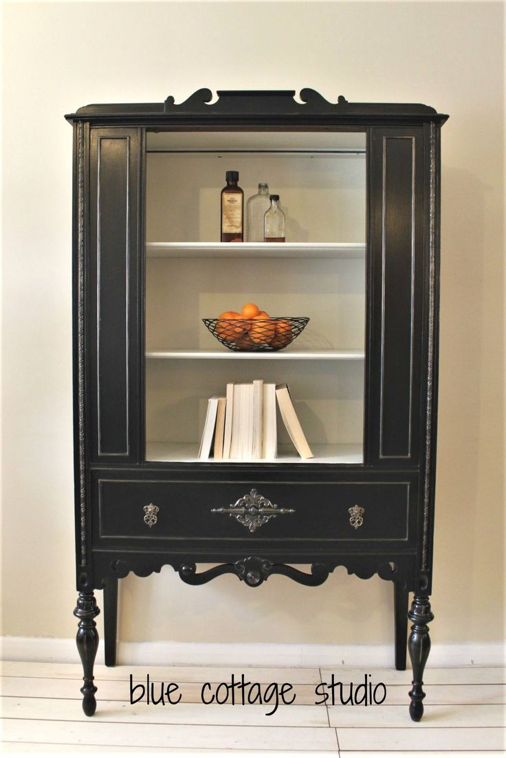 Sophisticated And Elegant Lamp Black Antique White Milk Paint China Cabinet By Blue Cottage Studio