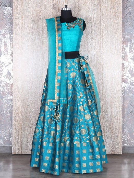 Blue Silk Wedding Designer Lehenga Choli