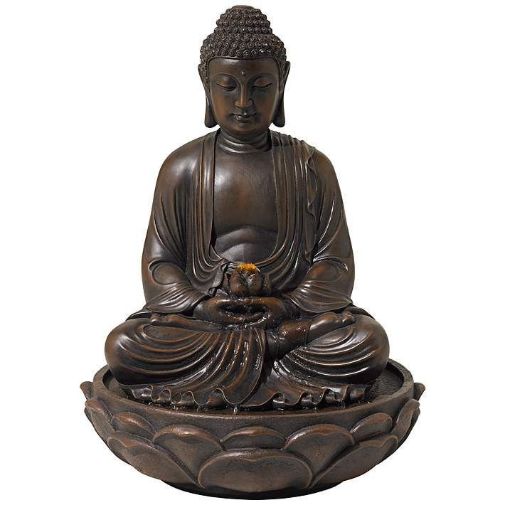 Meditating 27 1 2 High Bronze Seated Buddha Fountain V7990 Lamps Plus Water Fountains Outdoor Water Fountain Buddha