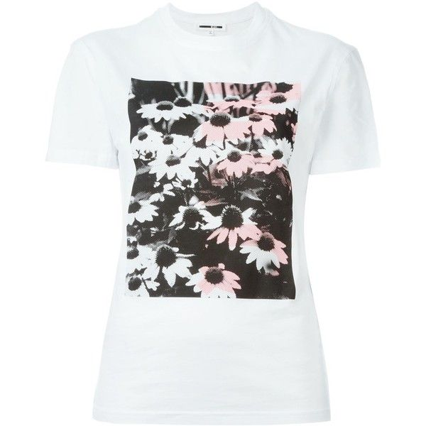 McQ Alexander McQueen floral print T-shirt ($150) ❤ liked on Polyvore featuring tops, t-shirts, white, white cotton t shirts, mcq by alexander mcqueen, white tee, floral t-shirt and cotton tee
