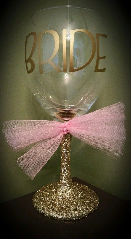 BRIDE Glitter Stemmed Wedding Wine Glass for by ByJusteenCrafts