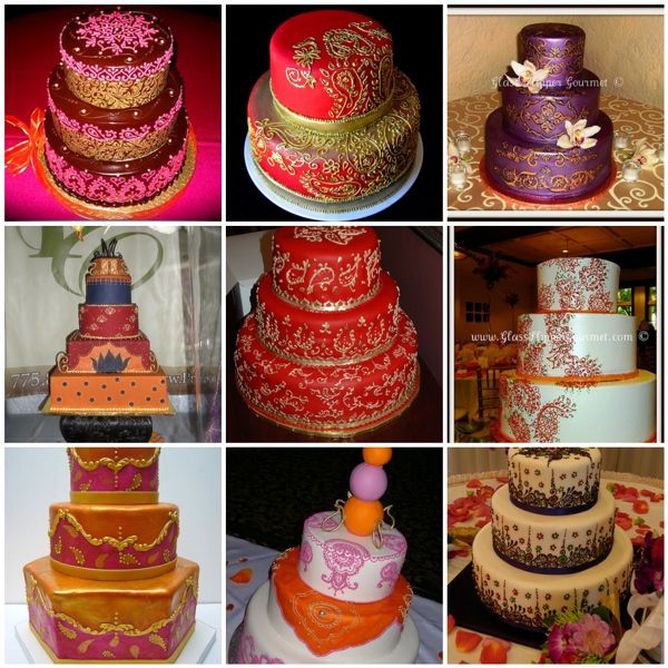 Indian themed wedding cakes, vibrant, bright, cake inspirations, henna and mehendhi designs