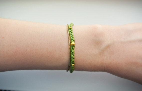 Camo Woven Bracelet  Olive and Khaki Embellished Bracelet by SKRIN, $25.00