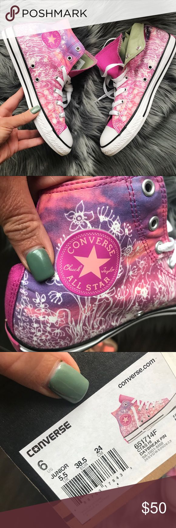 NEW 🌷 Converse floral ALLSTAR fits SIZE WOMENS 8 NEW! Never worn, floral print in gorgeous shoes of pink and lilac 🌷 cargo green lining for a edgy appeal!   Size 6 kids (fits size 8 woman, 24cm)  Ships same or next day from my smoke free home. Original box, no lid.   PRICE is FIRM, offers will be considered through the offer button only. Bundle items to save. 🌷  100% authentic, purchased directly from CONVERSE Converse Shoes Sneakers