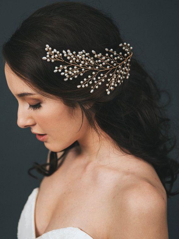 Tocado de novia oro | Peine del pelo nupcial de la perla | Accesorios para el cabello de novia | Declaración de boda horquilla [Sofie casco]