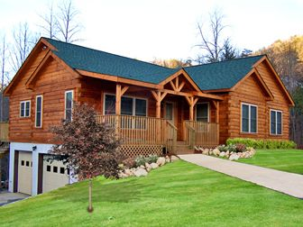Log Home Floor Plan Columbus 3  <3 this one! the look, the floorplan, one-level home w/ garage underneath, everything!