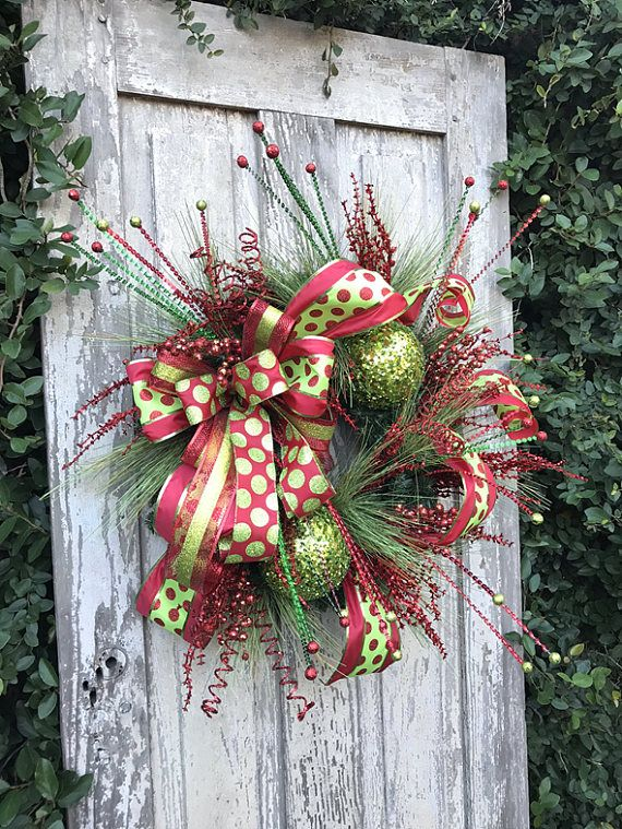 Whimsical Christmas Wreath, Traditional Christmas Wreath, Holiday Wreath, Christmas Fireplace Wreath, Chrismas Wreath for door Size 26 x 26 x 26 Created on a Christmas Greenery base with wire hanger attached. This whimsical Christmas wreath with green glitter balls will surely welcome all