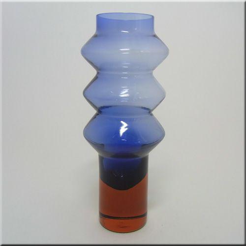 Aseda Glasbruk Swedish blue + red cased glass hooped vase, pattern number B5/632, 260mm tall, designed by Bo Borgstrom.  Ref: Scandinavian Glass Fire and Sea p26.