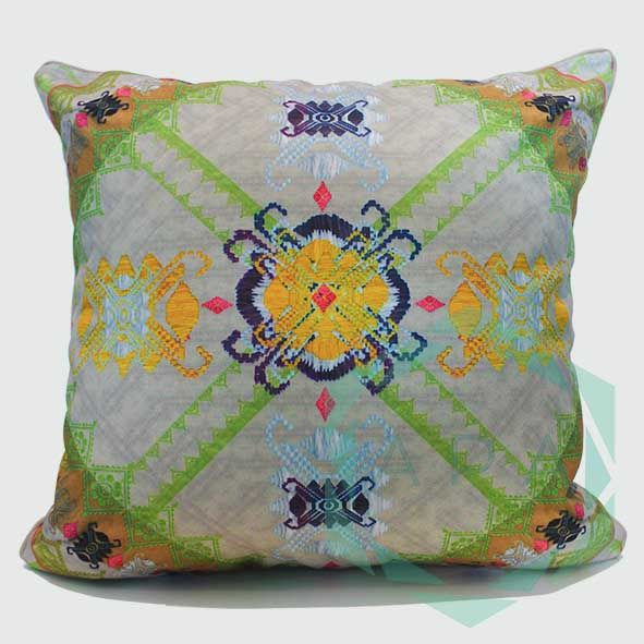 Inspired by the traditional handwoven songket fabric from Lombok.   Our songket cushion is digitally printed on polyester canvas making it durable for both indoor and outdoor use; withstand any weather condition, easily remove stains, easy to wash and colours will not fade away.  Songket2 cushion comes in 2 sizes:  45x45= Rp. 350,000 60x60= Rp. 450,000  For inquiries email us apaproductionhouse@gmail.com
