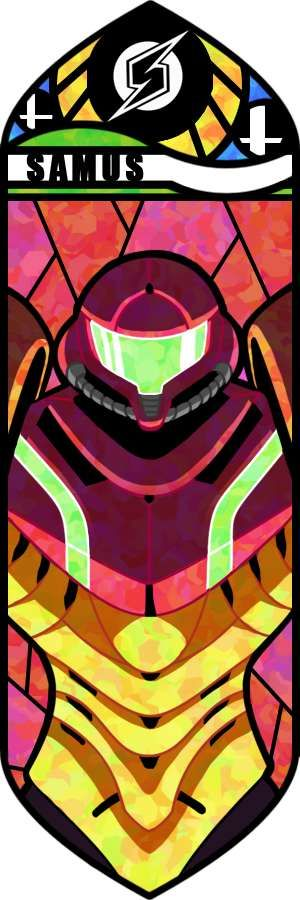 A really fantastic stained glass mosaic.  Samus fits so well on here, though her battle suit seems to be more thin than it usually is.  I love the different color blends in the mask as it gives off a sort of wear-and-tear feel to the design.  This is the face (masked of course) of someone that you don't want to ever fight.  The background is surprisingly well detailed and fits great in contrast with Samus' bright battle suit.