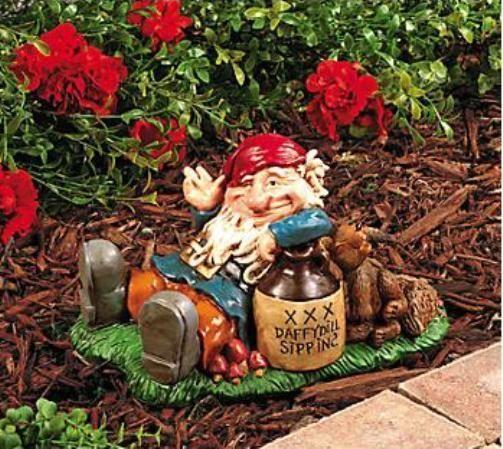 Gnome In Garden: Happy Drunk Gnome W/ Squirrel Beer Buddy Garden Statue