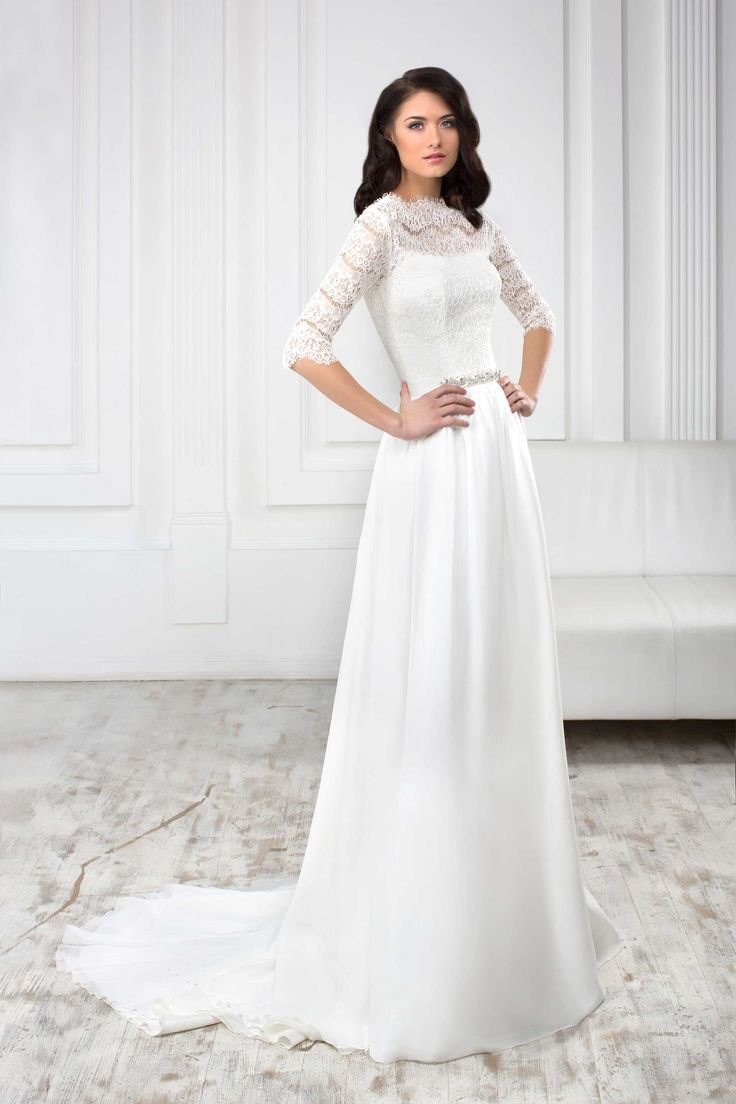 Elegantné svadobné šaty s jednoduchou sukňou s vlečkou a čipkovaným vrškom