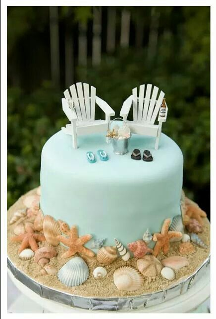 Beach themed cake #BeachThemedWeddings