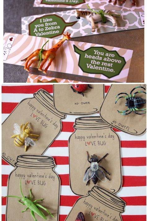 bug and animal valentines for boys. These are so cute! Non candy Valentines ideas.